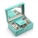 Jueven Mikrofaser Leder abschließbar Schmuck Box Organizer, Europäische Schmuck Ohrringe Aufbewahrungsbox Mode Mädchen Herz Schmuckschatulle (Farbe : C)