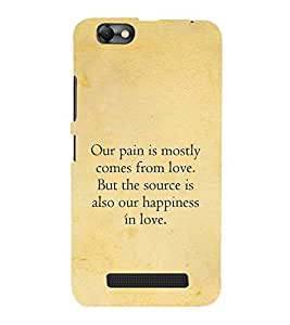 Fuson Designer Back Case Cover for Lenovo Vibe C :: Lenovo A2020 (Pain love quote :: Happiness love quote :: Cute love quote :: Love relationship quote)