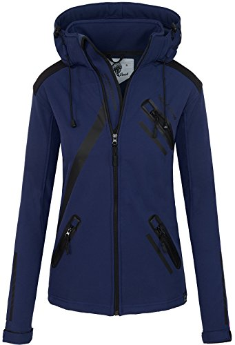 Rock Creek Damen Softshell Jacke Übergangs Jacke Windbreaker Regenjacke Damenjacken Outdoorjacke Windjacke D-371 Dunkelblau XXXL