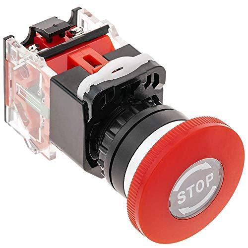 Pulsador de emergencia con sistema de bloqueo, para ser instalado en orificios de 22 mm de diámetro. Se trata de un pulsador con cuerpo metálico muy robusto. La pulsación de la tecla roja bloquea el interruptor. El desbloqueo se realiza girando la se...