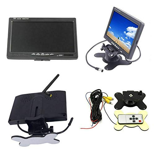 TXYFYP Drahtlose Rückfahrkamera,Monitor Kit Vorder- / Rückfahrkamera Wasserdicht Einstellbar 7 Zoll Auto Display Wasserdichter Kamera-Rückfahrsucher für PKW, LKW, Pickups, Busse, Van