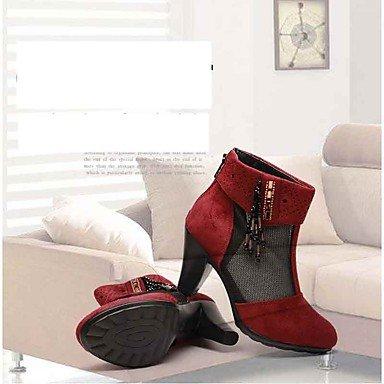 GLL&xuezi Da donna Stivaletti Con cinghia Tulle Tessuto Primavera Estate Formale Con cinghia Cristalli Cerniera Quadrato Rosso 5 - 7 cm red