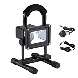 Beshine 10W Portable LED Floodlight, Rechargeable Work Light, Waterproof Outdoor Security Lamp, Spotlight, Emergency Lights for Camping, Job Site etc