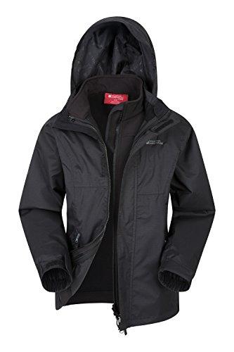 Mountain Warehouse Bracken Extreme 3-in-1-Jacke für Kinder - Wasserfest, Regenjacke, atmungsaktiv, versiegelte Nähte, Netzfutter - Für Frühlingsreisen, kaltes Wetter Schwarz 164 (13 Jahre)