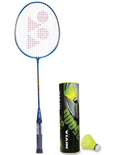 Yonex Gr 303 Badminton Racquet Blue and Nivia Nylon Shuttlecock, Pack of 6 (Yellow/Green)  available at amazon for Rs.1049