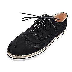 607895a3e4d97 Flat Shoes Women Ladies Lace-Up Brogues Derby Vintage Busines .