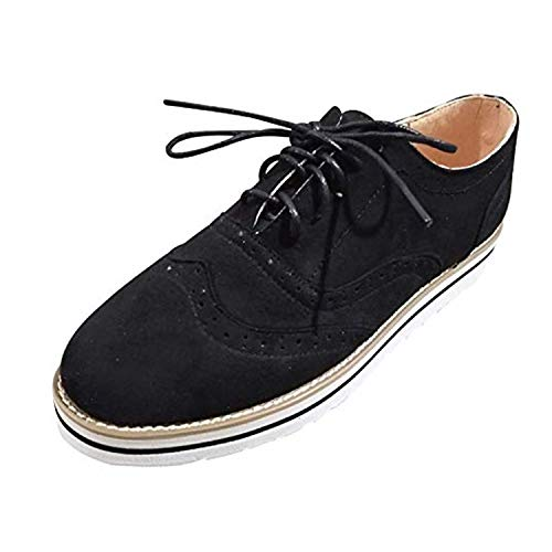 Wingtip Oxford (Brogues Damen Schuhe Leder Flach Derby Vintage Oxfords Wingtip Schnürhalbschuhe Bequem Business College Casual Sneaker Schwarz 42)