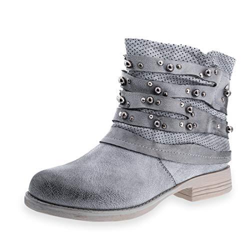 Marimo Damen Nieten Stiefel Biker Boots Stiefeletten in Lederoptik Grau 39