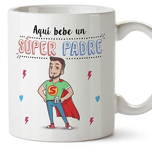 MUGFFINS Tazas Papa para Padres - AQUÍ Bebe UN Super Padre - Taza Desayuno Original 350 ml - Idea Regalo para el día del Padre