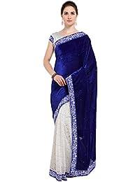 G Stuff Fashion Women Velvet saree With Blouse Piece_saree_Blue Velvet_saree