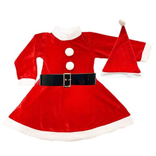 Disfraz de Mama Noel para Niña - Vestido,Gorro y cinturón para Navidad o Cosplay,Conjunto de 3pcs,Rojo (4-6año)