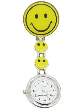 Schwesternuhr Krankenschwesteruhr Tiga Smiley Special Clipuhr Kitteluhr Neuware 1 Stück (Gelb)
