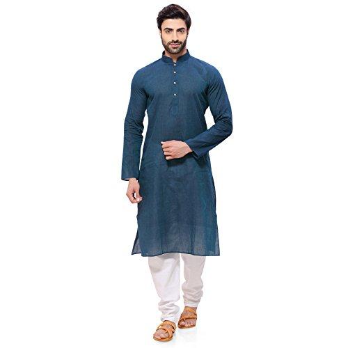 RG Designers Men's Cotton Kurta Pajama Set (HandloomGreenBlueKurta Pajama Set38_Blue_medium)