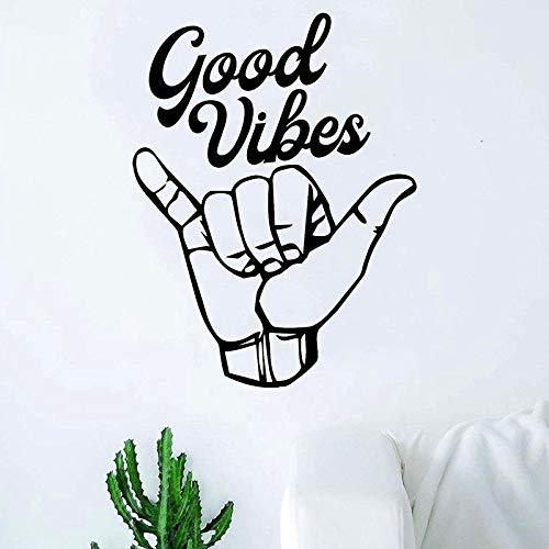 hetingyue Shaka Gute Vibration hängen Hand Zitat Aufkleber Aufkleber Wandaufkleber Wohnzimmer Schlafzimmer Kunst Vinyl Dekoration Teen Strand Meer Surfen 42x55cm