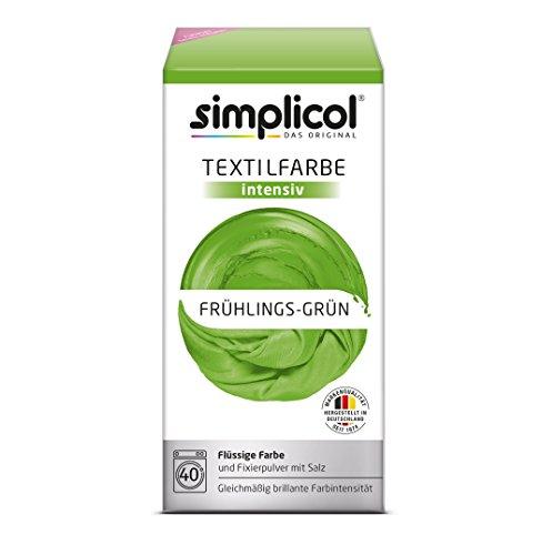 simplicol Textilfarbe intensiv (18 Farben) - Frühlings-Grün 1813: einfaches Textilfärben in der Waschmaschine, Komplettpackung mit Färbemittel und Fixierpulver (Farbe Grün T-shirt)