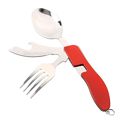 FULARR Camping Utensils Cutlery Set, 4-in-1 Stainless Steel Camping Equipment Fork Knife Spoon Bottle Opener Set - Folding and Detachable Camping Flatware Tableware with Aluminum Handle