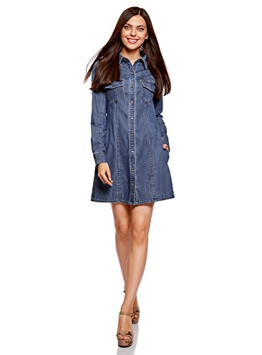 Oodji ultra donna abito camicia in jeans, blu, it 40 / eu 36 / xs