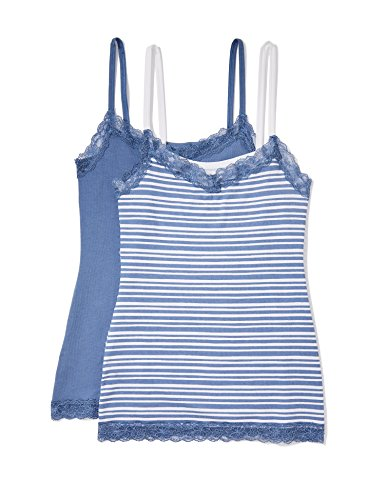Iris & lilly canotta in cotone body natural donna, pacco da 2, multicolore (painted strip print/moon light blue), small