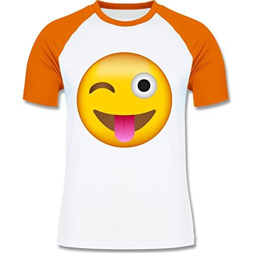 Shirtracer Comic Shirts - Emoji Herausgestreckte Zunge - Herren Baseball Shirt Weiß/Orange