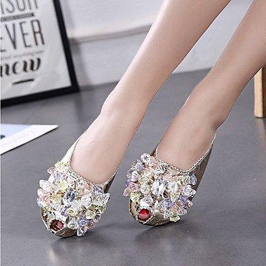 LvYuan Da donna Sandali Comoda Poliestere Estate Casual Comoda Con diamantini Piatto Oro Argento Piatto Gold