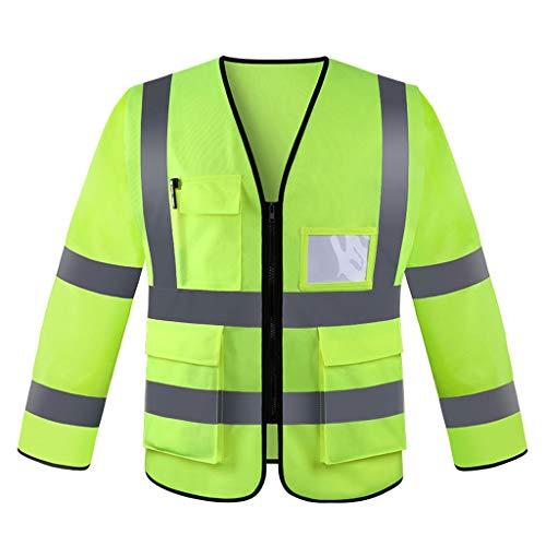 Reflektierende Weste Langarm-Weste Mehrzweck-Fluoreszenzanzug Multi-Pocket-Verkehrssicherheits-Hygienejacke - 10 Langarm T-shirt