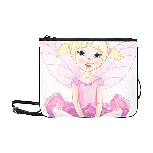 EIJODNL Nettes kleines Mädchen mit Schmetterlingsflügel-Muster-Gewohnheits-hochwertigem Nylon dünner Handtasche Kreuzkörper ()