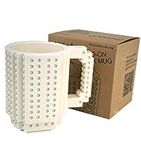 Build-On Brick Mug with Toy Man Set - White Building Blocks Coffee Cup DIY Creative Coffee Tea Beverage Drinking Funny Gift