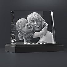 Personello® Foto de cristal con base iluminada, su foto grabada con láser, regalo original con grabado, regalo creativo para aniversarios, Navidad
