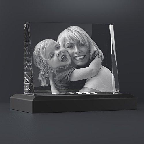 Personello Fotogeschenke vom Glasfoto Spezialisten Glaskristall mit Ihrem Wunsch-Foto als originelles Fotogeschenk + Leuchtsockel, Größe M...