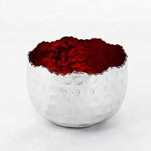 Teelichthalter | Teelichtschale Silber - Rot | Windlicht Dekoschale aus Metall | Strahlender Teelichthalter | Weihnachtsdeko