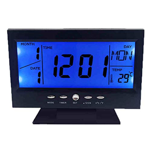 FGJFA Wecker, große LED-Snooze-Funktion, Sleep-Timer, LCD-Wecker mit großem Bildschirm, Snooze-Hintergrundbeleuchtung, kreative Smart-Uhr-Thermometer, Student-Bett-Wecker,Black