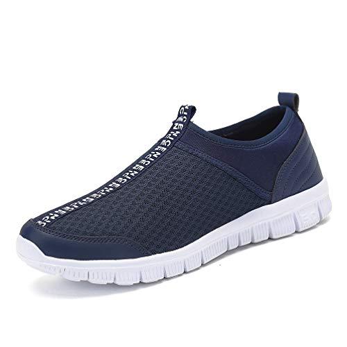 JINDENG Sportschuhe Unisex Leichte Atmungsaktive Anti-rutsch Wanderschuhe Anti-rutsch Slip on Casual Schuhe für Damen Herren(dunkelblau-A,42) Herren Schuhe Slip-ons