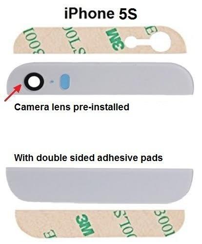 MMOBIEL Backcover Rückseite - Oben und Unten für Iphone 5S (Weiss) Glas mit Glaslinse vorinstaliert und inkl. Klebepads Iphone 5 Weiß Oben Und Unten