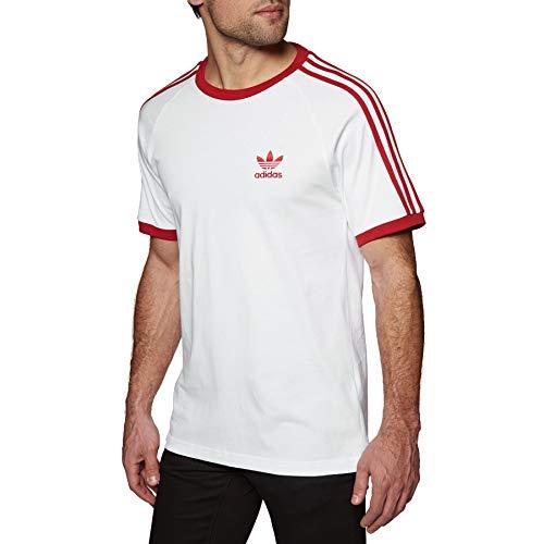 adidas Originals T-Shirt Herren 3-Stripes Tee DY1533 Weiss Rot, Größe:XL -