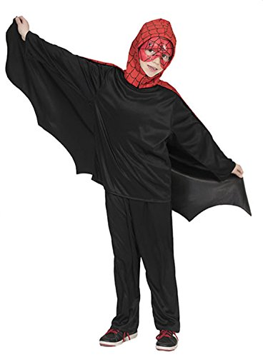en Karneval Halloween Superheld Spider, Kinder Fledermaus-Cape, beidseitig tragbar, 116-140, 6-10 Jahre, Mehrfarbig (Bier Mädchen Superhelden Kostüm)