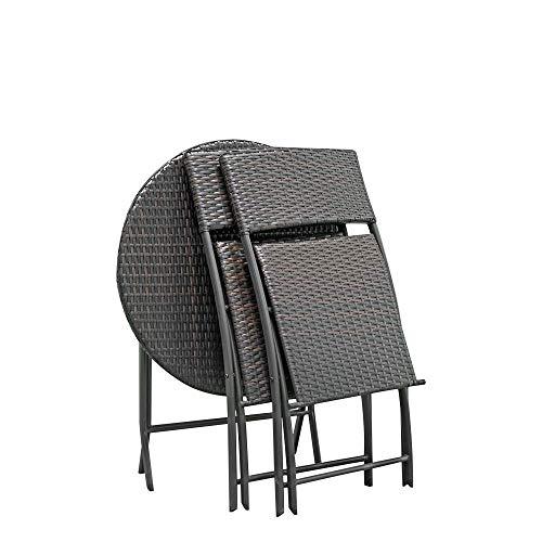 AOLI 2Pcs Arm Chairs 1Pc runden Couchtisch Rattan Chair Set Brown, Möbel Bistro Set-Patio Möbel Set - Patio Bistro-set