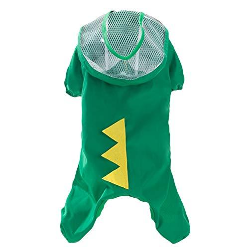 POPETPOP Haustier Hund Regenmantel grüner Dinosaurier Kostüm wasserdicht im Freien Poncho - Größe XL (Dinosaurier Haustier Kostüm)