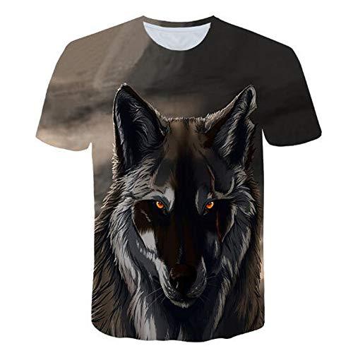 Männer Frühling Sommer Männer T-Shirts 3D Gedruckt Tier t-Shirt Kurzarm Lustige Design Casual Tops Tees Männlich,3D Gedruckter Wolf-1 grau L (Cutter Cougar Cookie)