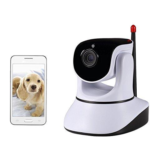 NexGadget IP Camera Wifi Videocamera di Sorveglianza Wireless P2P con Audio Bidirezionale Visione Notturna Monitore di Bambini e Animali per Sicurezza di Casa (Bianco)