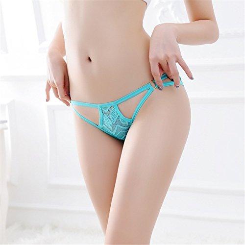 YALL-Frau niedrige Taille Unterwäsche weibliche japanische durchbrochene Spitze Slip weiblich ultradünnen breathable Unterwäsche Green