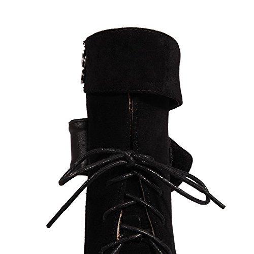 AllhqFashion Femme Haut Bas Zip à Talon Haut Rond Bottes Noir