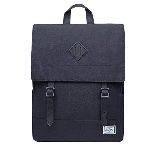KAUKKO Rucksack Damen Herren Business Rucksäcke mit Laptopfach - Vintage Mädchen Daypack für Uni & Alltag 14.9 Liters Schwarz (KS04-2)