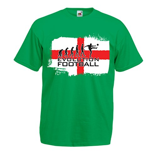 Lepni.me maglietta da uomo l'evoluzione di calcio - inghilterra, campionato di russia il 2018, la coppa mondiale - camicia di ammiratore di squadra di calcio inglese (large verde multicolore)