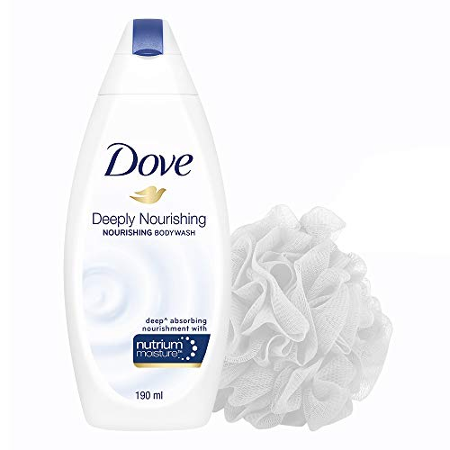 Dove Deeply Nourishing Body Wash 190 ml with free loofah