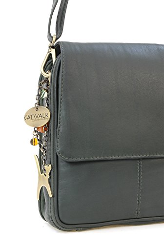"""Organizer-Umhängetasche aus Leder von Catwalk Collection - """"Metro"""" Grün"""
