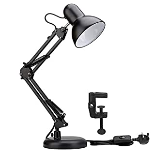LE Swing Arm Desk Lamp, E27 Bulb Socket, Flexible Clamp on Table Lamp, Black Painted Classical Bedside Lamp for Reading, Working, Studying and More