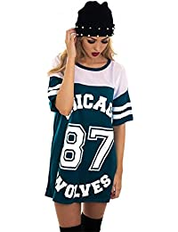 T-shirt de baseball long et ample pour femme Motifs Chicago 87 Wolves Style universitaire