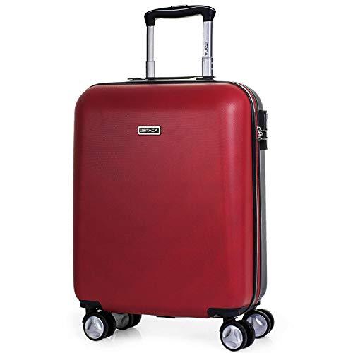 ITACA - Valigia Trolley ABS 50 cm. Bagaglio a mano. Rigida e leggera. Maniglia telescopica, 4 ruote doppie. Voli low-cost ideali Ryanair Vueling. T58050, Color Rosso