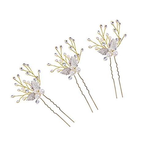 MagiDeal 3pcs/Set Epingle à Cheveux Design Feuille en Strass Faux Perles U Pin à Chignon Bijoux Coiffe Mariée