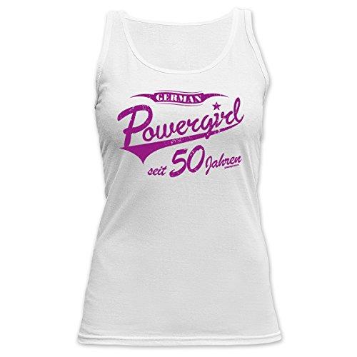 TankTop T-Shirt ::: Powergirl seit 50 Jahren ::: zum Geburtstag Weiß